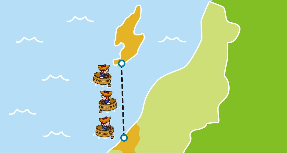 新潟県佐渡島(小木港から柏崎港)たらい舟