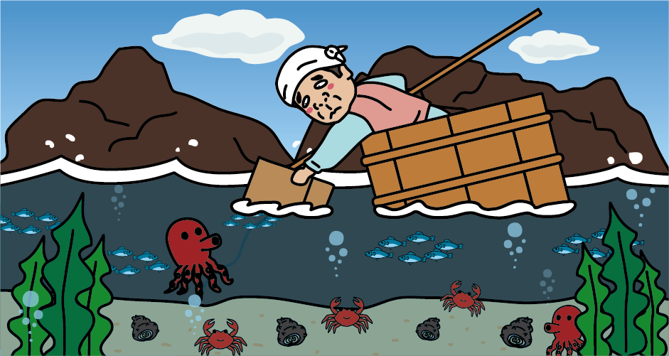 佐渡島たらい舟(磯ねぎ漁)