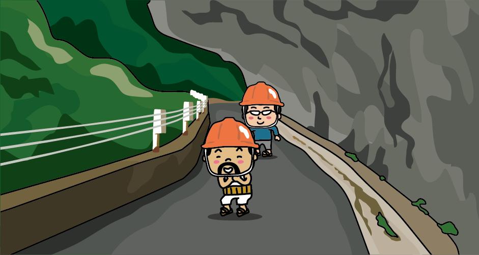 黒部峡谷鉄道の終点・欅平駅を下車。張り出した岩盤が大きな口を開けて歩く人を飲み込んでいるように見えるので人喰岩と呼ばれています。