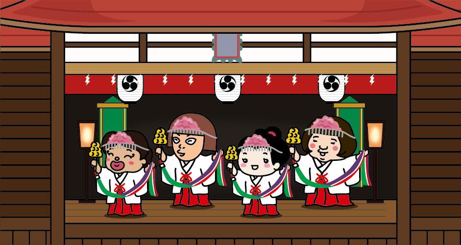 祇園祭の最終日の午後、神社の神楽殿で台詞が一切ない終始無言の「太々御神楽(だいだいおかぐら)」が奉納されます。「天地開闢」「鎮悪神」「岩戸開き」「浦安の舞」など、13段の舞があります。