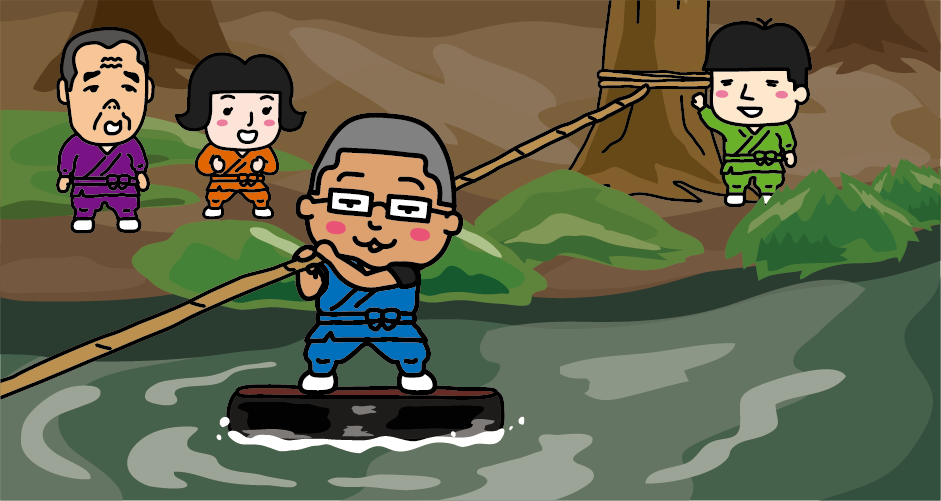 直径約65㎝の浮力のある履物を使って水の上をアメンボのように渡る忍術が「水蜘蛛の術」です。赤目四十八滝の渓谷を流れる滝川にロープを張って幅約10mの川を渡ります。