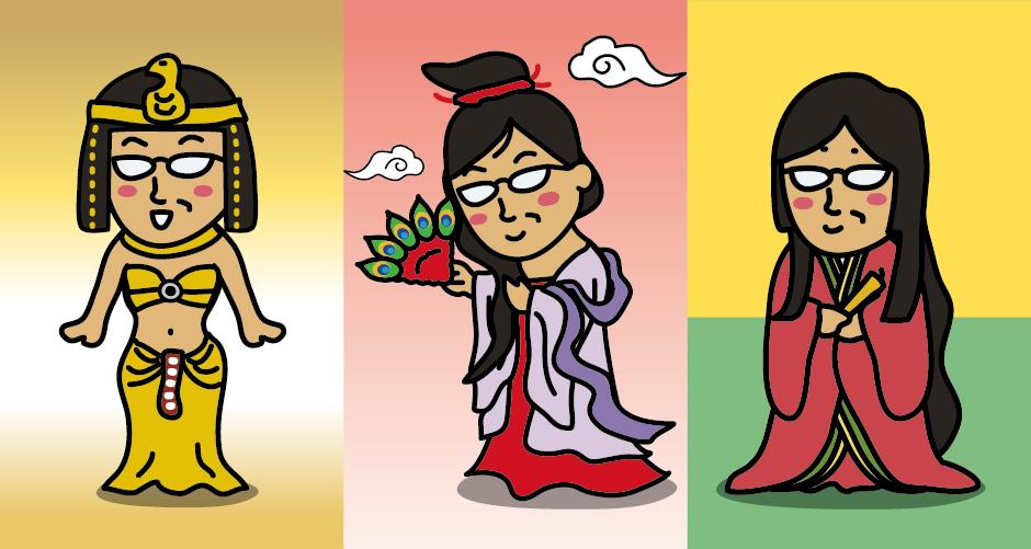 小野小町は、(日本では)エジプトのクレオパトラ、中国の楊貴妃と並んで「世界三大美女」のひとりとされています。平安時代前期(9世紀中頃)、和歌を集めた『古今和歌集』の六歌仙(6人の歌人)のひとりです。