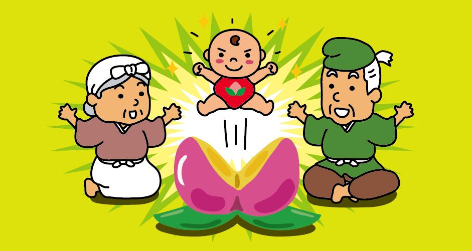 お婆さんは桃を家に持ち帰って山から帰ったお爺さんと一緒に食べようとすると、桃が二つに割れて、桃の中から元気な男の子が出てきました。 子供がいなかったお爺さんとお婆さんはとても喜んで、桃から生まれた男の子に桃太郎と名付けて大事に育てました。