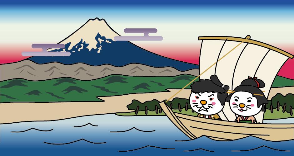 出戸時代の三保松原(浮世絵風)